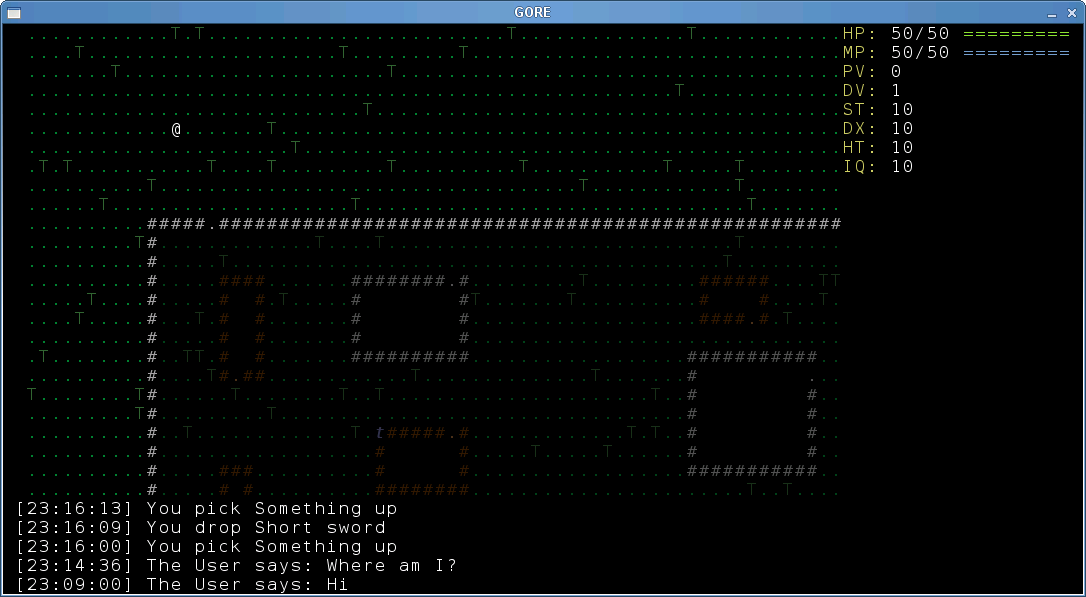 G.O.R.E. client 0.0.5 on FreeBSD, SDL frontend
